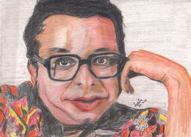 Rahul Dev Burman (27 June 1939 – 4 January 1994) was an Indian film score composer, who is considered one of the seminal music directors of the Indian film industry. #Colorpencil #portrait #sketch #india #music #rdburman