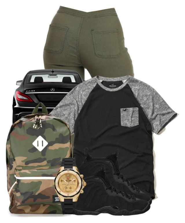 """""""Rockin that Gold Watch"""" by brooklyn-taylor-ford ❤ liked on Polyvore featuring Mercedes-Benz, Hollister Co., NIKE, Herschel Supply Co., Michele, women's clothing, women's fashion, women, female and woman"""