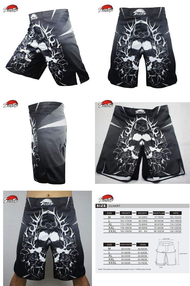 [Visit to Buy] SUOTF MMA black and white cotton flower boxing movement training kickboxing Shorts Size loose sanda muay thai boxing short mma #Advertisement
