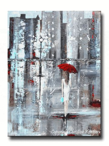 """A Trip to Tiffanys"" Gallery fine art painting. Modern giclee canvas print abstract palette knife painting - girl w/ red umbrella, rainy evening in the city, shopping, fashion, figurative.  Enhance home decor, or delight someone with this special gift. Shades of grey, white, red, & Tiffany Blue. Contemporary art, Tiffany & Co, NYC, canvas prints, make a wonderful gift, gallery wall decor SELECT SIZE small to large 60"" - by Internationally Collected Artist, Christine Krainock"