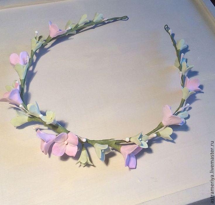 Купить Венок на голову с цветами из полимерной глины розовая гортензия - бледно-розовый, розовый