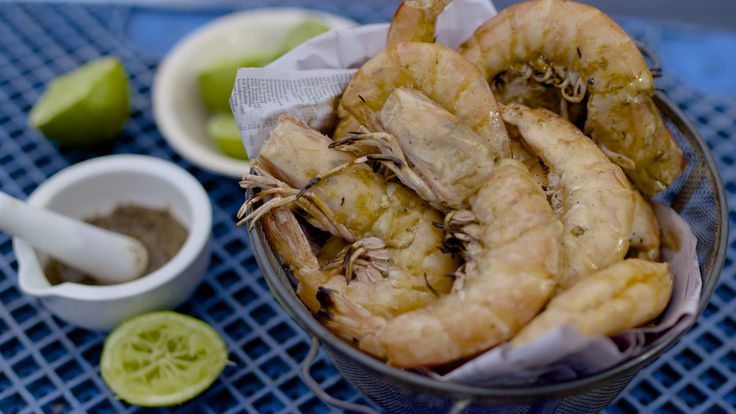 Grilled Yamba prawns with salty lime and fennel - bbq's in shell - Adam Liaw