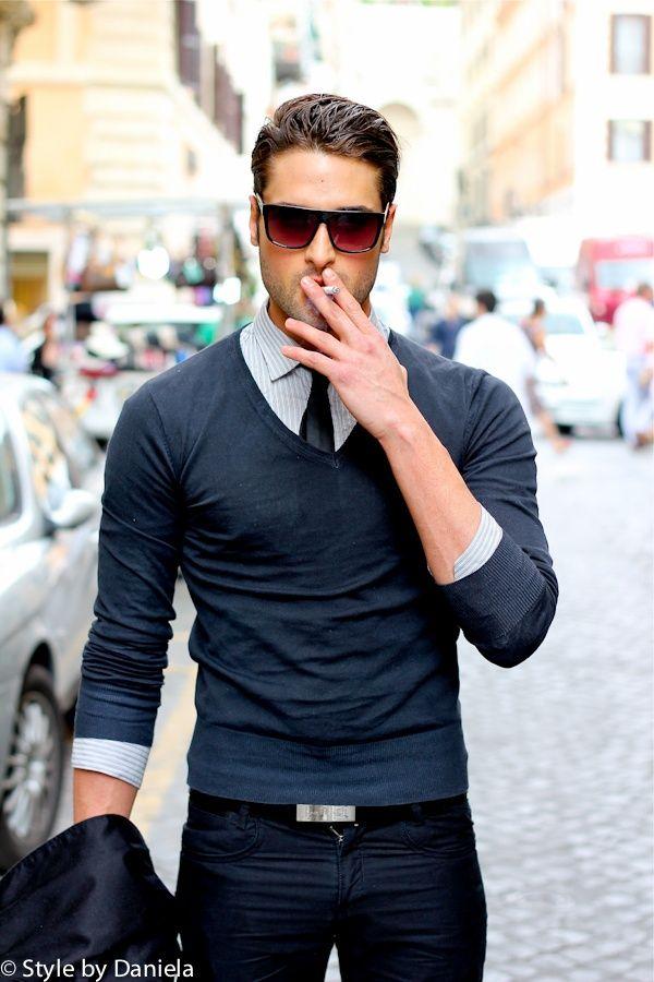 Men's Navy V-neck Sweater, Grey Vertical Striped Dress Shirt, Navy Skinny Jeans…