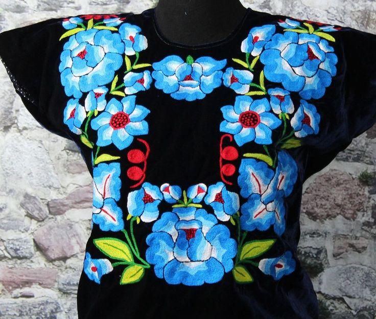 Hand Embroidered Tehuana Mexico Midnight Blue Velvet Huipil - Frida Kahlo Style  #Handmade #Huipiltunic