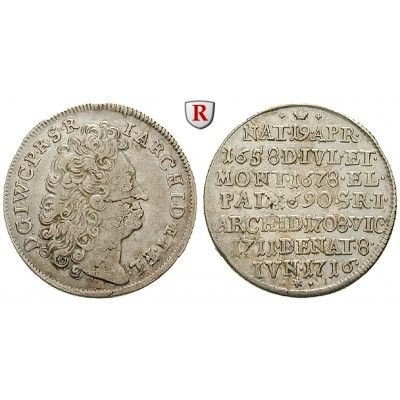 Jülich-Kleve-Berg, Herzogtum Jülich-Berg, Johann Wilhelm II., 1/6 Taler 1716, ss: Johann Wilhelm II. 1679-1716. 1/6 Taler 1716… #coins