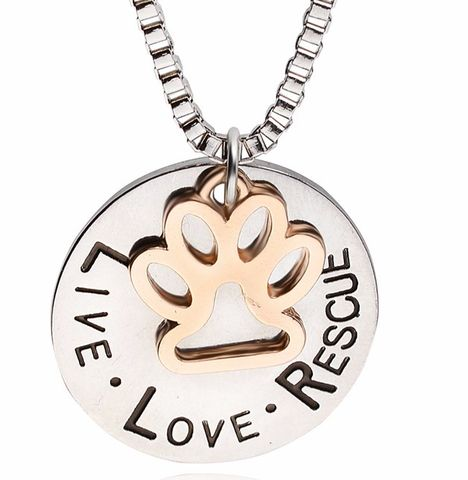 Live Love Rescue Dog Paw Necklace - DingJewels