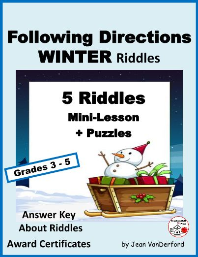 "Review LANGUAGE with five WINTER RIDDLES ... practice vocabulary, language skills, and FOLLOWING DIRECTIONS ...This is a fun, hands-on review of core language skills, Gr. 4-5 ... Mini-Lesson Language Riddle ... parts of speech, phonics, compound words, punctuation marks, sentence types, prefixes, suffixes, synonyms, writing terms ... Award Certificates, Word Search, Crossword Puzzle, Word Scramble ... © Jean VanDerford, Art © on pages ... ""Fun for Kids – Easy for Teachers"""