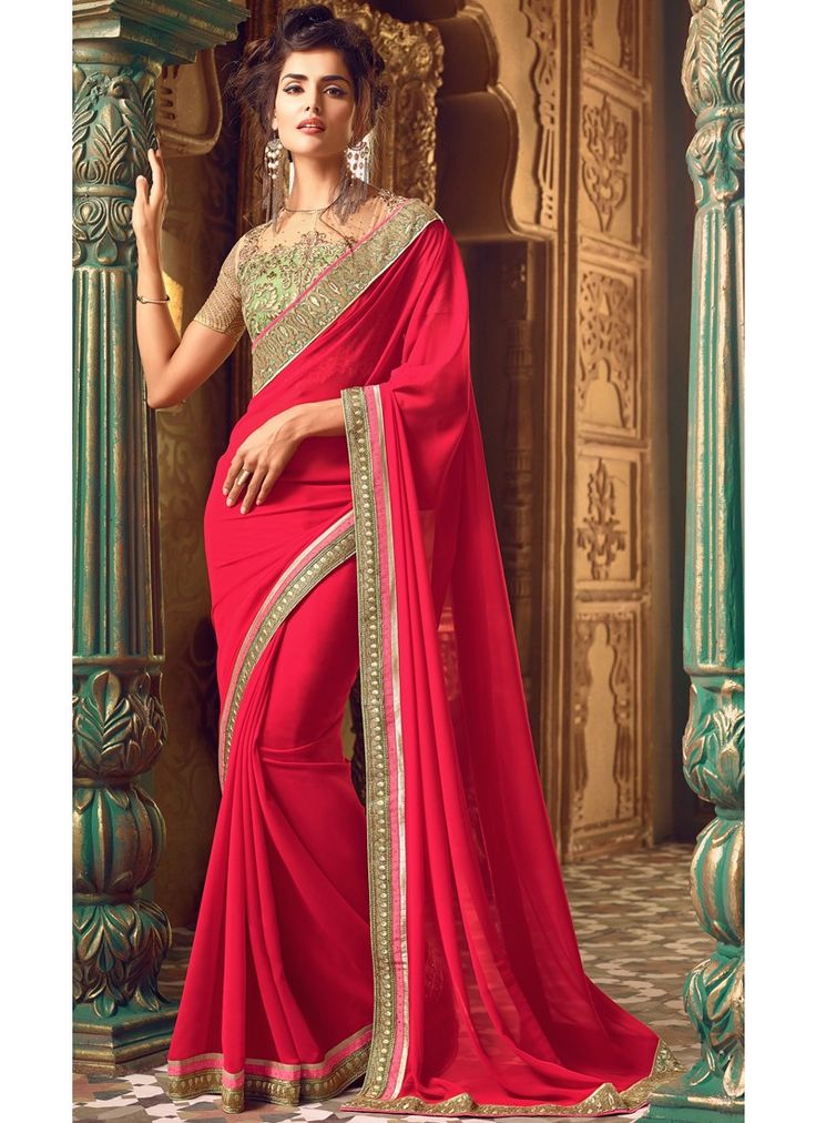Shaded Pink Embroidered Georgette Saree