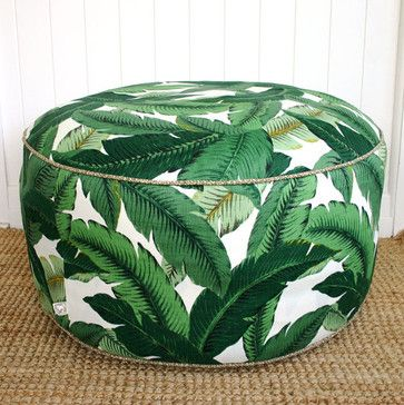 Green Palm Outdoor Pouf Ottoman by Square Fox Designs tropical ottomans and cubes
