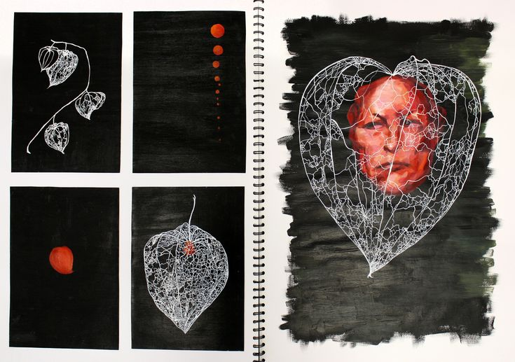 """Page from A2 sketchbook """"Under the Microscope, Beneath the Skin"""", painting in acrylic and ink"""