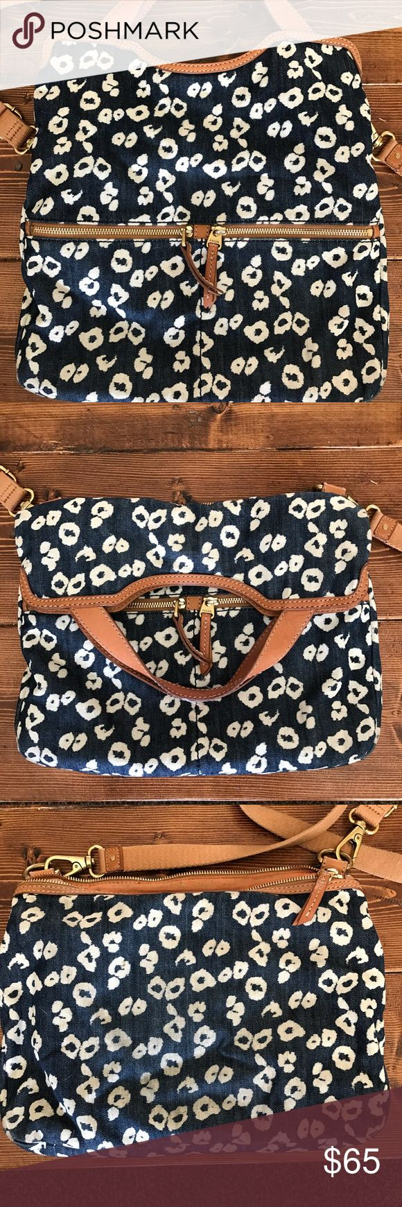 Fossil Bag Denim leopard fossil bag. Comes with duster bag Fossil Bags Crossbody Bags