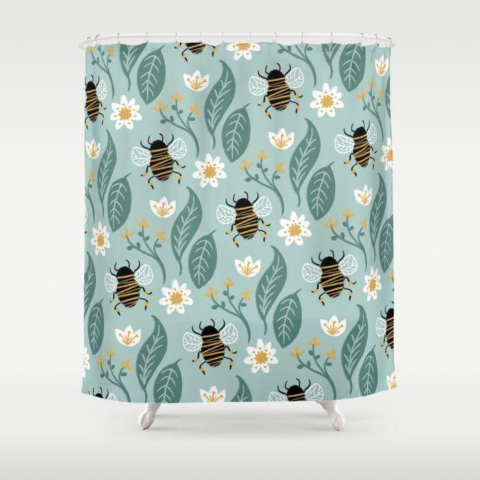 Buy Honey Bee Wildflower Shower Curtain By Rachelcorcoran
