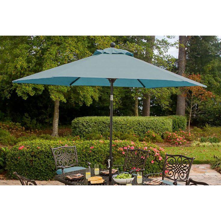 Hanover Traditions 9 ft. Crank Outdoor Table Umbrella - TRADUMBBLUE