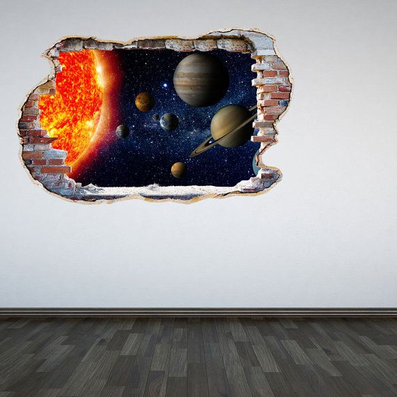 Solar System Wall Decal Smahed Wall 3D Effect Outer Space Sticker Mural Outer Space Cracked Wall Graphic