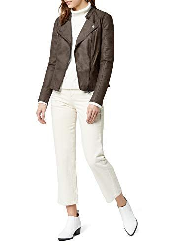 84bc3f24 ONLY Women's Lava Faux Suede Biker leather jacket Long Sleeve Jacket Brown  (Falcon) 14 (Manufacturer Size: 42)