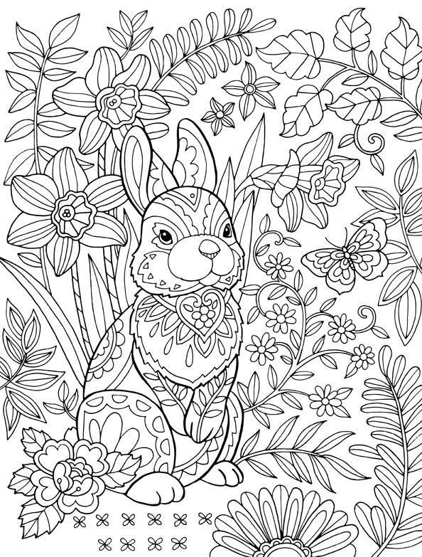 Easter Bunny Coloring Page For Adults Bunny Coloring Pages