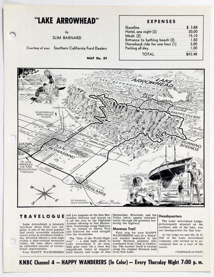 1960's LAKE ARROWHEAD CA Happy Wanderers Travelogue Slim Barnard Map KNBC Ford