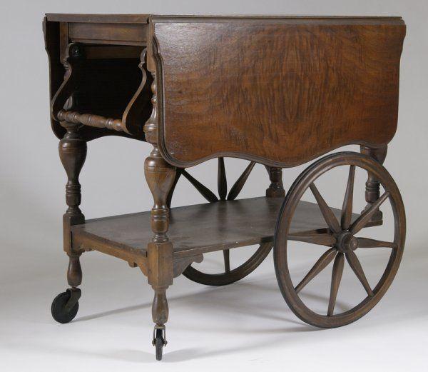 636 Antique Mahogany Drop Leaf Tea Cart On Dream House