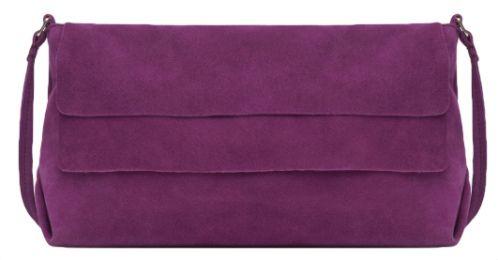 sac en boudoulière en daim violet à rabas, soldes zara
