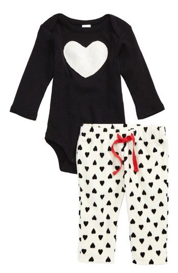 Free shipping and returns on Nordstrom Baby Appliqué Bodysuit & Fleece Pants Set (Baby Girls) at Nordstrom.com. She'll be the Queen of Hearts in this adorable ensemble featuring a rib-knit cotton bodysuit with heart appliqué and soft fleece pants in a charming heart print.