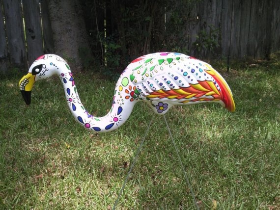 Day of the Dead Painted FlamingoHandpainted, Pink Flamingos, Painting Flamingos, Dead Flamingos, Dead Painting, Custom Plastic, Flamingo Yard Art, Plastic Flamingos, Yards Flamingos