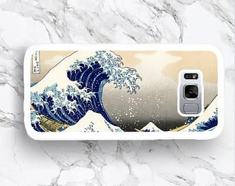 for Samsung Galaxy S8 Japanese Wave Art Phone Case, S8+ Samsung S8 Plus S7 Edge Japan Classic Blue Wave Japanese Art S6 Active S5 Mini Cover