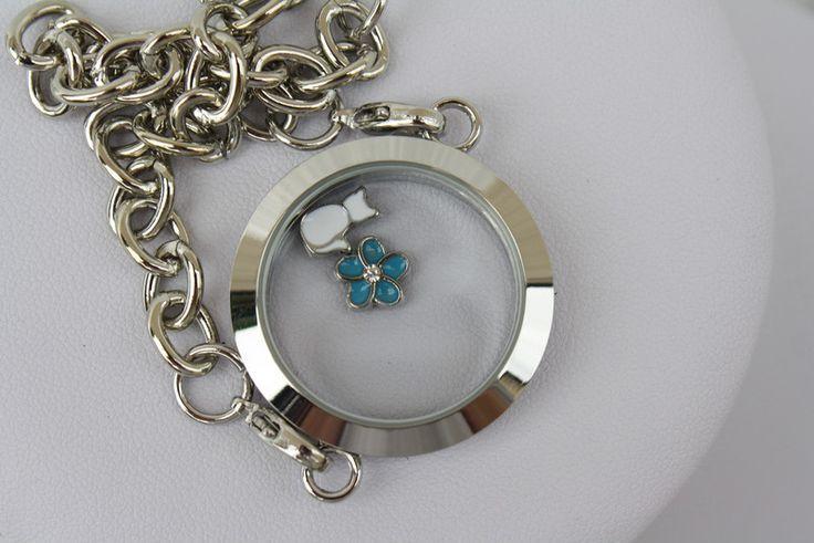 Armbänder - Armband Anhänger floating charm Katze Blume türkis - ein Designerstück von trixies-zauberhafte-Welten bei DaWanda