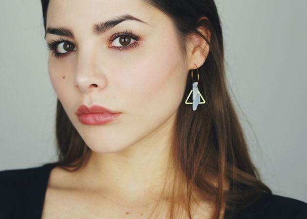 Dangle Earrings – cyanite triangle earrings – a unique product by kechido on DaWanda
