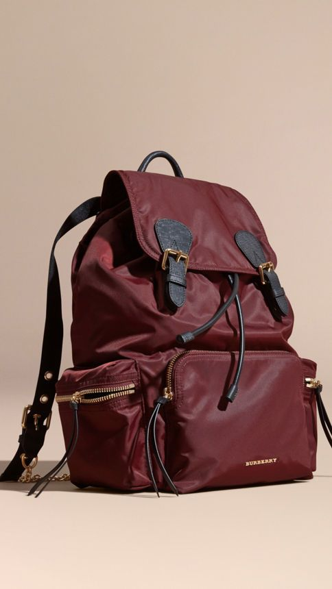 The Large Rucksack in Technical Nylon and Leather Burgundy Red -  1