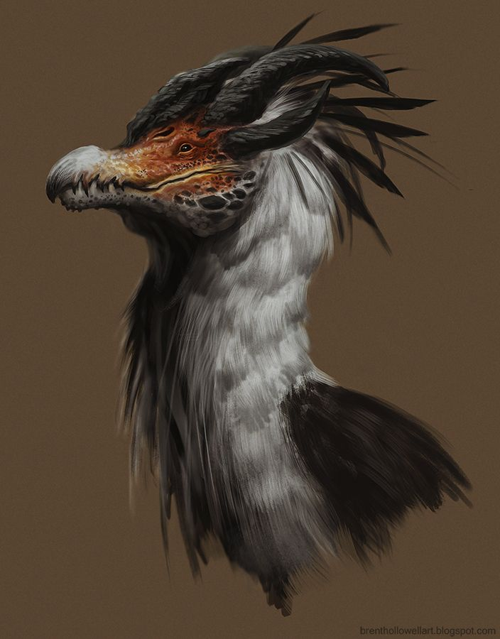 http://brenthollowellart.blogspot.fi/2014/06/secretary-bird-dragon-dude.html