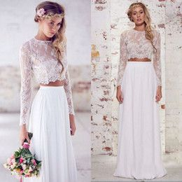 Wholesale 2015 Bohemian Two Pieces Wedding Dresses Beach Bridal Gowns with Long Sleeves Vintage Sheer Lace Chiffon Cheap Boho Prom Party Gowns