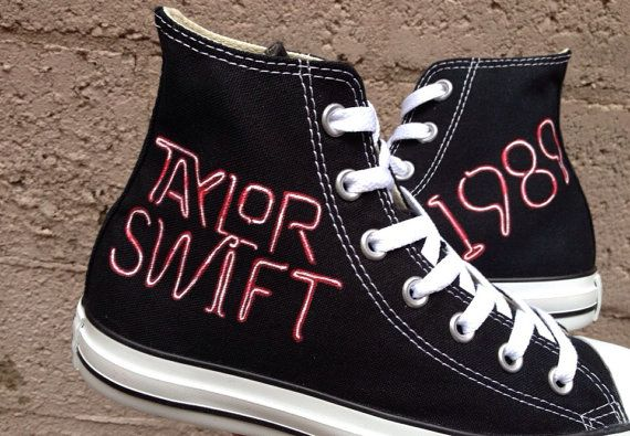 Taylor Swift Inspired Shoes! Choose which design you like! Hand painted T Swift Converse shoes! These are hand painted with pro-paints so they wont