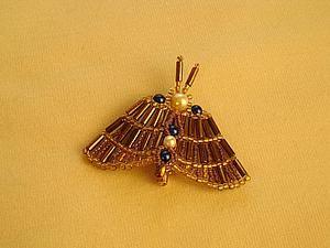 """Плетем брошь из бисера и стекляруса """"Изящная бабочка"""" - Ярмарка Мастеров - ручная работа, handmade"""