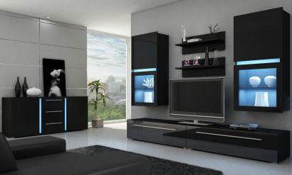 Obývacia izba - WIP - Kassel čierna Ak preferujete tmavé farby, táto krásna čierna obývacia zostava je to pravé pre Vás.