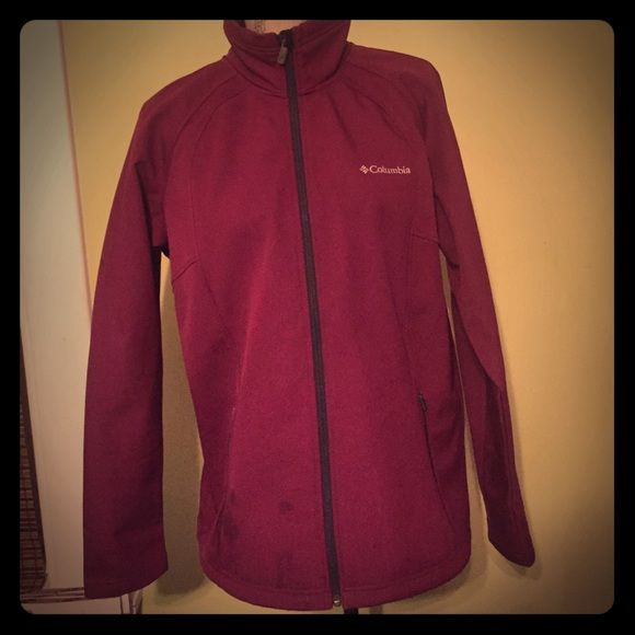 Columbia Jacket Cute Columbia Jacket Sportswear Company. Worn a couple of times.   I would say it's a maroon color. Columbia Jackets & Coats