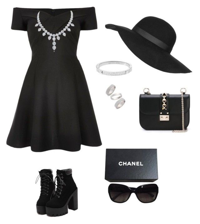 """""""Woman in black, perfect combination"""" by prosvetovajane ❤ liked on Polyvore featuring River Island, Chanel, Topshop, Michael Kors and Valentino"""