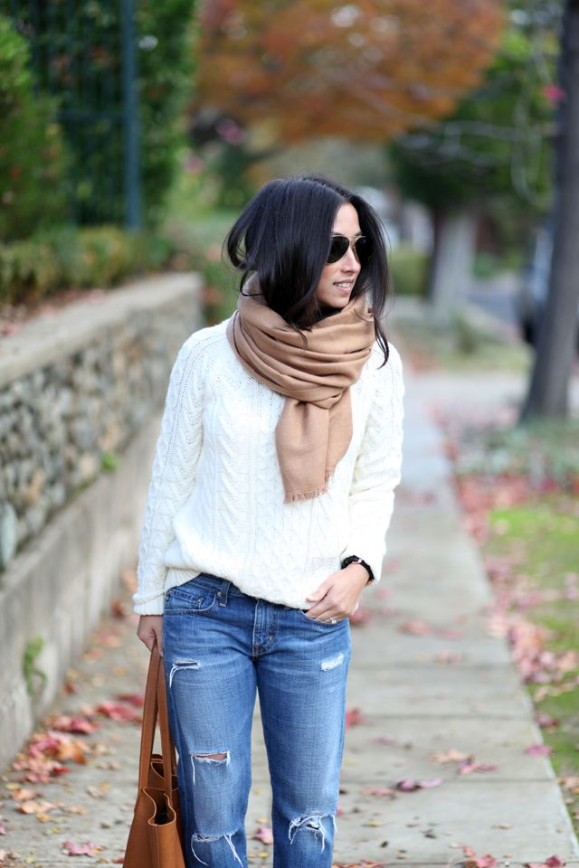 Forever 21 cable knit sweater // AG Ex Boyfriend jeans // H&M scarf // Cuyana tote (similar at...