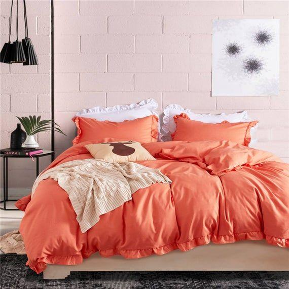 Sunshine Vigorous Orange Duvet Cover Ruffled Quilt Cover Etsy
