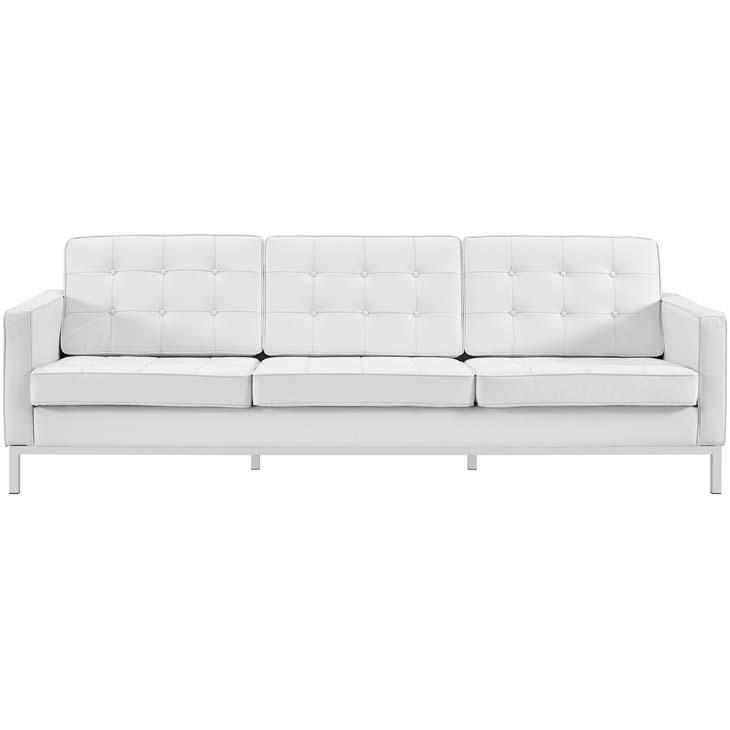 Florence Knoll Style Genuine Leather Sofa In 2020 White Leather Sofas Modern White Leather Sofa White Leather Couch