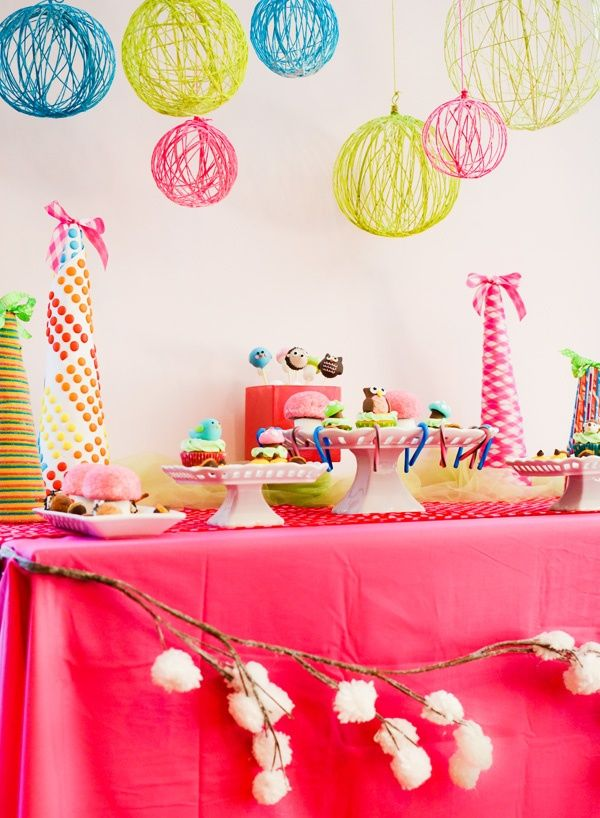 Hanging Party Decor Balloons, fun colored yarn, and modge podge will give you awesome hanging decorations :)