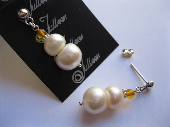 Large White Double Pearl Honey Amber and Hallmarked Sterling