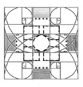 A golden section diagram of Palladio's Villa Rotunda.