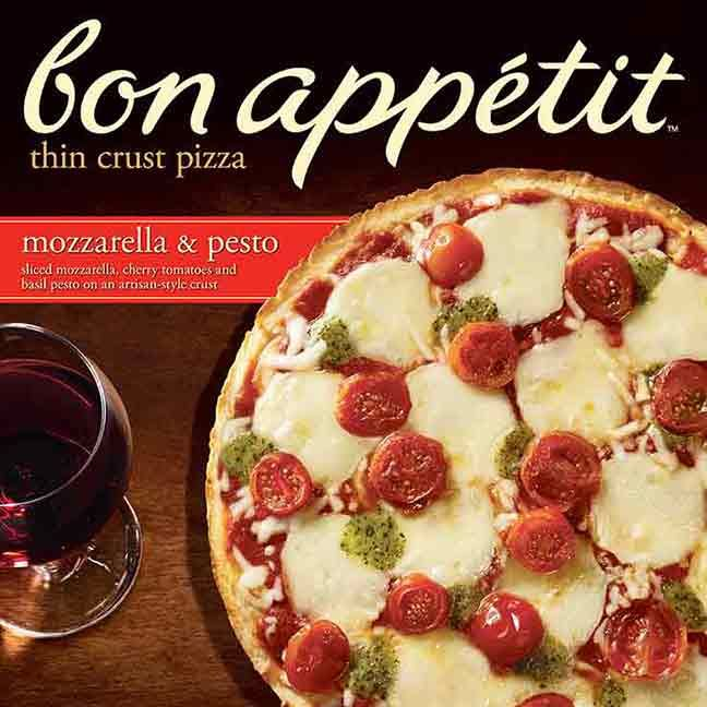 BON APPÉTIT™ Mozzarella & Pesto Pizza: Flavorful basil pesto, sliced mozzarella and cherry tomatoes are atop a thin, flaky, buttery, made-from-scratch crust that's simply irresistible.