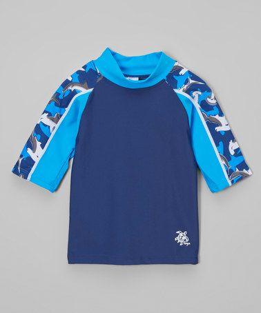 Loving this Surf Blue Shark Short-Sleeve Rashguard - Infant & Boys on #zulily! #zulilyfinds