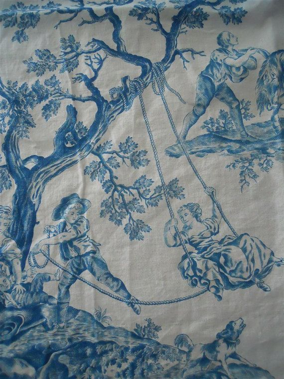 French antique Toile de Jouy fabric printed cotton linen 18th-century Swing, sedan chair, dog, French campagne