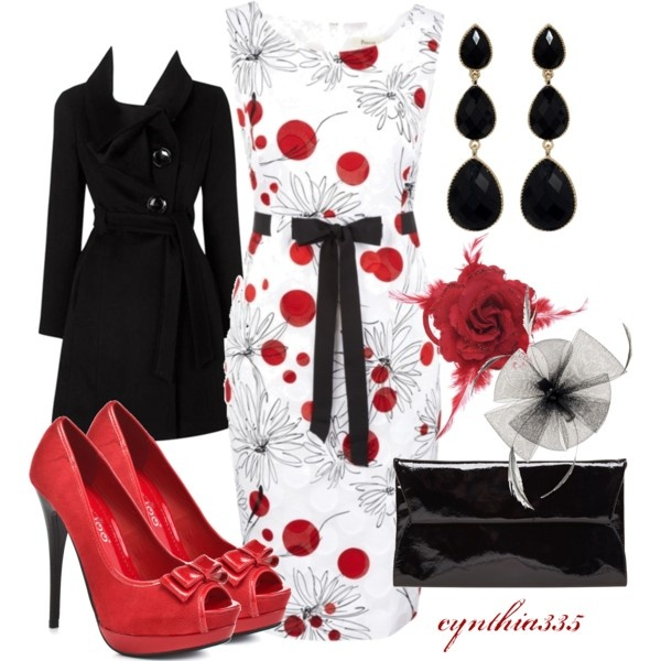 Love love love!!! <3: Black Lov, Color, Black And White, Red Shoes, Outfit, Red Black Whit, Black White, Classic Red, Coats