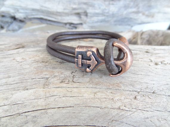 Men's Brown Leather Bracelet, Men's Jewelry, Antique Brass Anchor Bracelet, Brown Bracelet, Men's Cuff Bracelet, Gift for Him, Father's Day