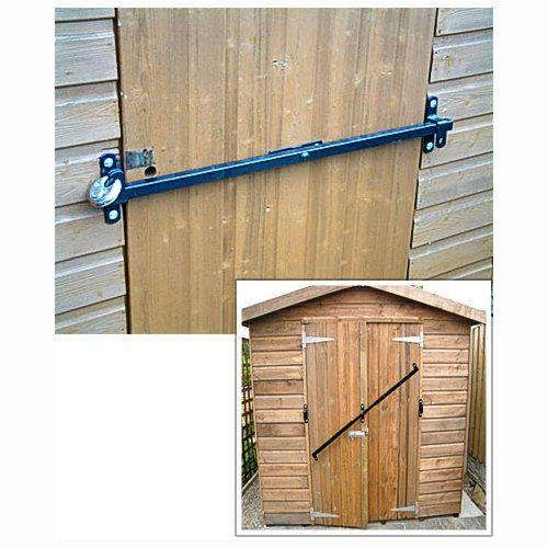 Great garden shed door security locking bar, the Shed-Bar. Fits to 1200-1800mm wide door or double door. Easy DIY job.