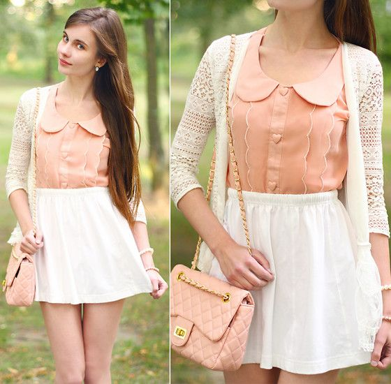 Romwe Peach Top With Peter Pan Collar And Heart Button, Nike White Skirt, White Lace Cardigan, Pink Bag With Chain
