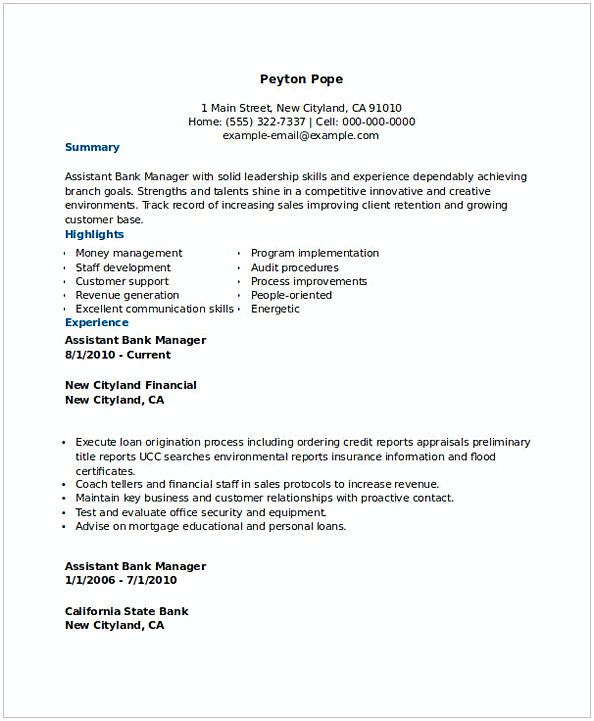 Bank Assistant Manager Resume 1